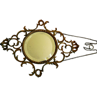 Antique Cast Metal & Gilt Hanging French Style Wall Mirror