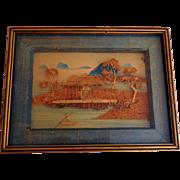 Vintage Chinese Cork Carving, Framed