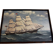 "Vintage Framed Marine Print, Black Ball Shipping Line, ""James Baines"""