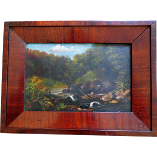 Antique Oil on Canvas, Signed, Fly Fishing in a Wooded Stream