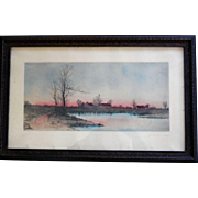 Etching Published by James Tyroler, 1902, Hand-Colored