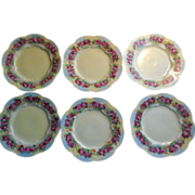 Delicate Porcelain Cake/Dessert Plates, Hand-Painted Set of Six