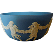 Vintage Wedgwood Blue Jasperware Finger Bowl,  with Putti