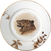Haviland Limoges Hand-Painted Cabinet Plate, Grizzly Bear