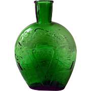 Vintage Green Glass Commemorative Flask, Gen MacArthur, 1942