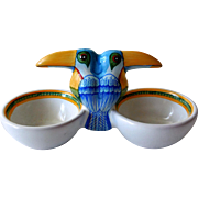 Vintage Hermes Toucans Double Open Salt, Pottery by Moustiers