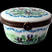 Vintage Limoges Hand-Painted Trinket Box, Violets