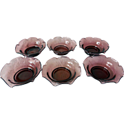 Vintage Amethyst Glass Nut Dishes, Set of 6
