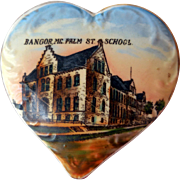 Early Porcelain Dresser Jar, Palm St. School, Bangor, ME, P. H. Vose Dep't Store