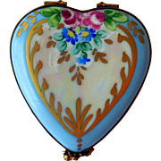 Vintage Hand-Painted, Porcelain Limoges Trinket Box, Heart-Shape