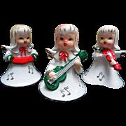 Mid-Century Ceramic Christmas Angels, Set of 3