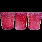 Vintage Cranberry Glass Tumblers (3), Fern & Daisy Pattern