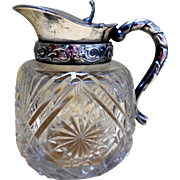 Victorian Cut Crystal and Silver-Plated Syrup Pitcher