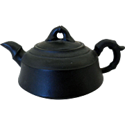 Vintage Miniature Asian Teapot, Black Basalt Pottery