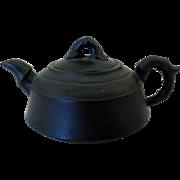 Vintage Miniature Asian Teapot, Black Basalt Pottery