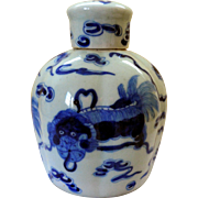 Vintage Lobed Blue & White Tea Caddy, Chinese Foo Dogs