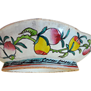 Early Chinese Pottery Pedestal Serving Dish, Fruits & Flowers