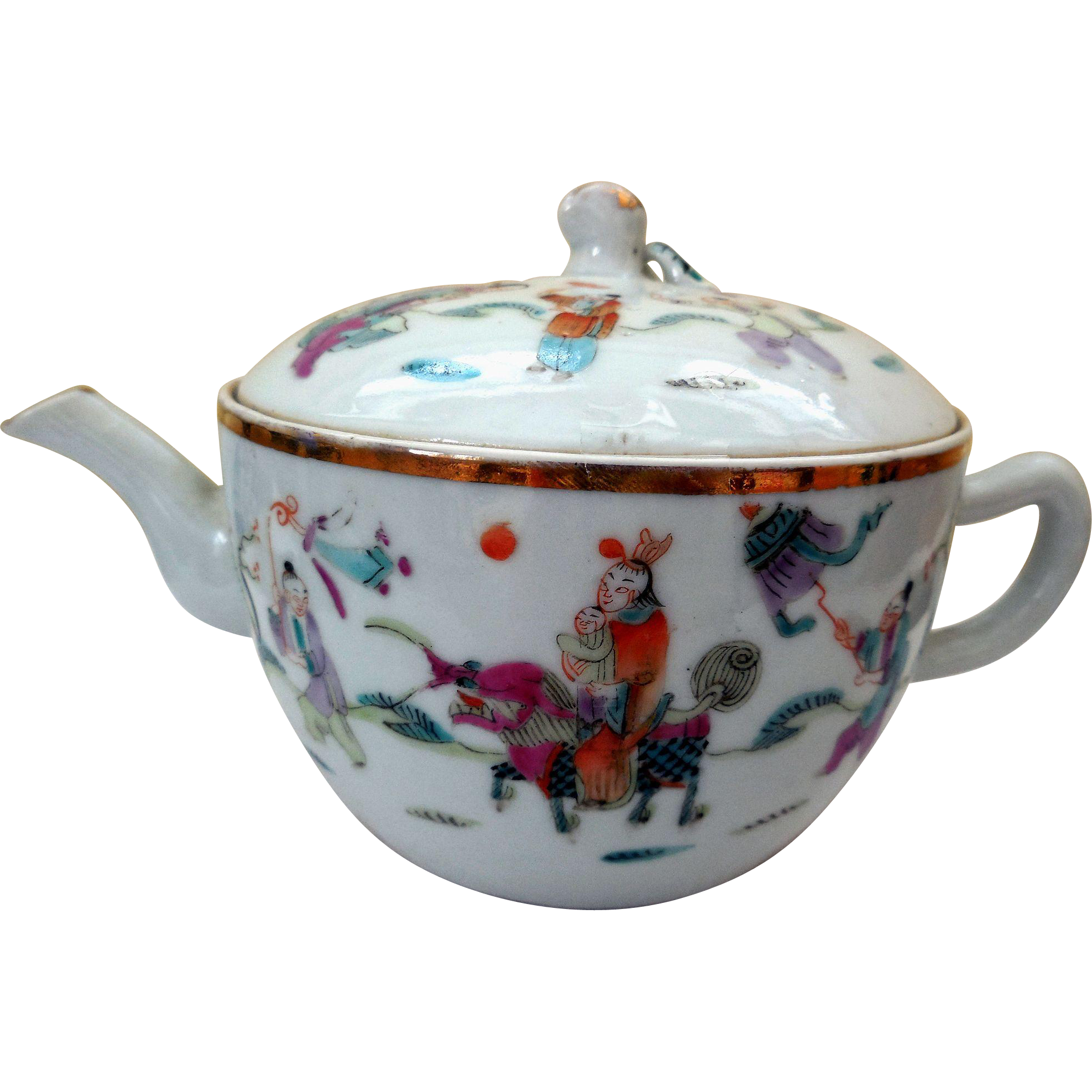 Antique Chinese Qing Famille Rose Porcelain Teapot from ...