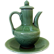 Vintage Korean Celadon-Glazed Miniature Teapot and Underplate