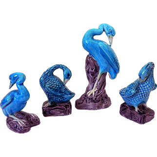 Vintage Chinese Porcelain Birds, Collection of Four