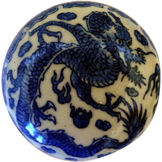 Japanese Seal Paste Box, Blue & White Dragon Decoration, Ca 1900