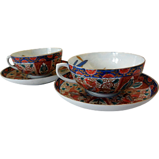 Vintage Hand Painted Japanese Imari Cups and Saucers (2)