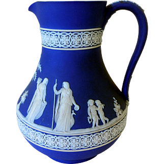 Elegant Wedgwood Dark Blue Jasperware Pitcher