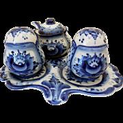 Mid-Century Pottery Condiment Set