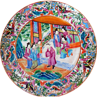 Antique Rose Mandarin Chinese Export Plate, 9 3/4 Inches