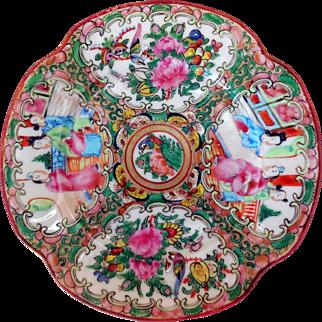 Early Chinese Porcelain Rose Medallion Quatrefoil Dessert Plate