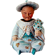 Late Victorian Bisque Nodder Bobblehead, Little Asian Man