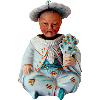 Late Victorian Bisque Nodder Bobblehead, Little Asian Man