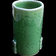 Vintage Asian Celadon Brush Pot, Vase