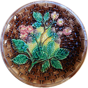 19th Century Majolica Plate, Basketweave & Blackberries