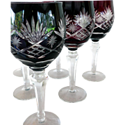 Vintage Bohemian Ruby Cut to Clear Goblets (6)