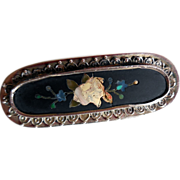 Antique Pietra Dura Brooch in Silver