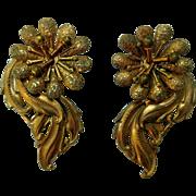 Art Nouveau Large Gold-Tone Dress or Shoe Clips