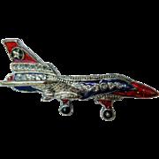 Vintage Enameled Pin, Airplane or Jet, Pot-Metal
