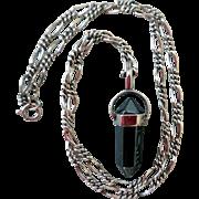 Vintage Hematite Gemstone Pendant with Sterling Silver