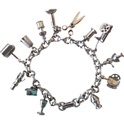 Vintage Charm Bracelet, All About Sewing! 1950s Enco