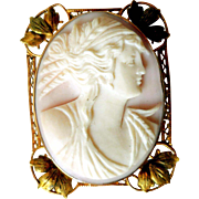 Antique Edwardian Angel Skin Cameo, 10K Gold