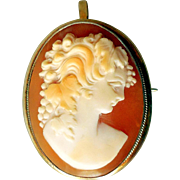 Vintage Carved Shell Cameo in .835 Silver