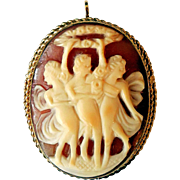 Vintage Carved Shell Cameo, Three Graces, Gold-Filled, Signed