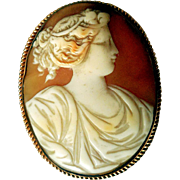 Antique Hand-Carved Shell Cameo, Gold-Filled, Ca 1880