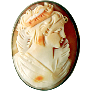Vintage Carved Shell Cameo, .800 Silver, Ca 1910
