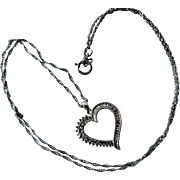Vintage Sterling Silver Necklace: Chain, Pendant with Diamonds