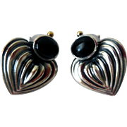 Vintage Lagos Caviar Earrings, Sterling Silver, 18K Gold, Onyx