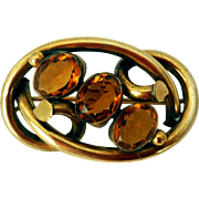 Antique Scottish Lovers' Knot Brooch, Rolled Gold and Cairngorms