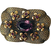 Vintage Filigree Brooch, Amethyst Glass Stones, Czechoslovakia