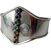 Vintage Sterling Silver Cuff Bracelet with Gems, Hand Made
